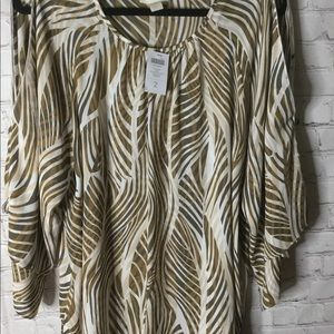 Chico's silky top  NWT  ARMS LAYERED AND SLITS.